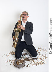 musician playing a saxophone