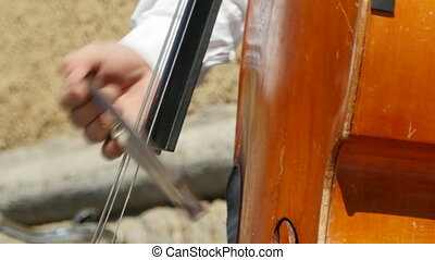 Musician playing contrabass close-to