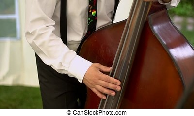 Musician playing double bass. - Man plays the double bass.