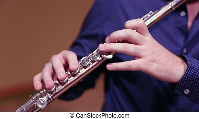Musician playing flute on stage - Professional flutist ...
