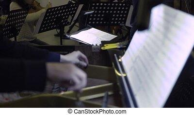 Musician playing grand piano, classic music