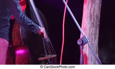 Musician playing on a contrabass 4k