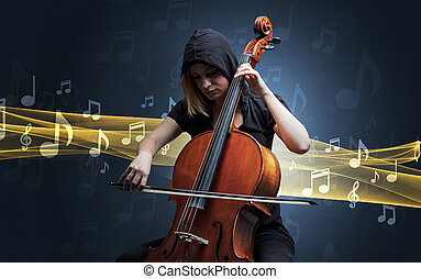 Musician playing on cello with notes around