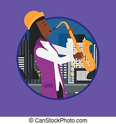 Musician playing on saxophone vector illustration.