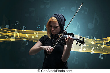 Musician playing on violin with notes around