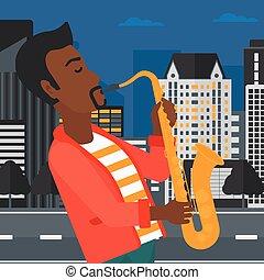 Musician playing saxophone. - An african-american man...