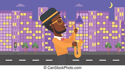Musician playing saxophone. - An african-american man...