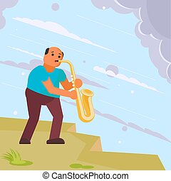 Musician playing saxophone in the street. Vector illustration in flat style. Street musician sax player. Music hobby concept design element.