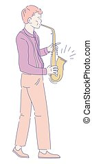 Musician playing saxophone jazz music concert musical instrument