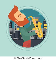 Musician playing saxophone vector illustration.