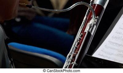 Musician playing the fagotto, closeup - Hands close-up...