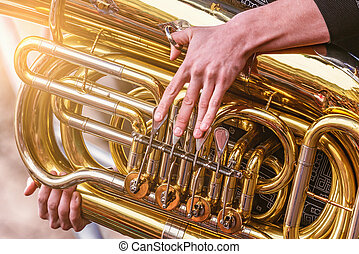 Musician playing tuba at evening time. - Musician playing ...
