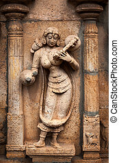 Musician playing veena.Bas reliefes in Hindu temple. Sri...