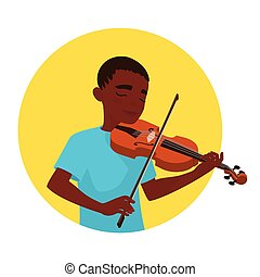 Musician playing violin. Boy violinist is inspired to play a classical musical instrument. Vector