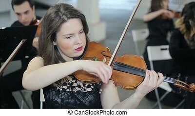 Musician playing violin, classic music