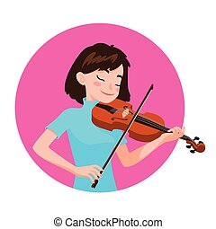 Musician playing violin. Girl violinist is inspired to play a classical musical instrument.