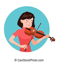 Musician playing violin. Girl violinist is inspired to play a classical musical instrument. Vector.