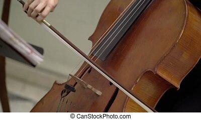 Musician playing violin closeup indoors