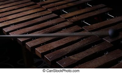 Musician playing xylophone - Close up of male musician hands...