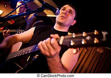 musician plays a guitar at a concert