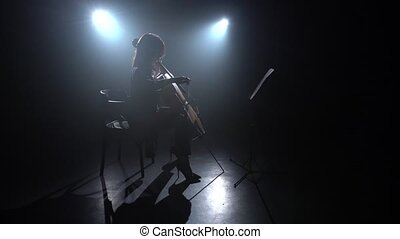 Musician plays the cello in dark studio. Silhouette. Black smoke background