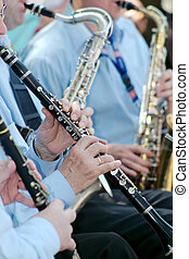 Musician plays the clarinet