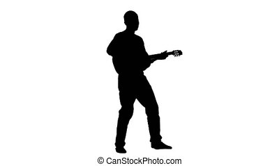 Musician plays the lyric song on the guitar and sings....