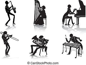 Musician silhouettes - musician silhouettes