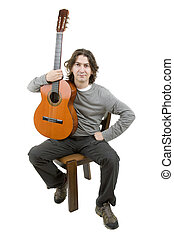 musician - young musician with acoustic guitar, isolated