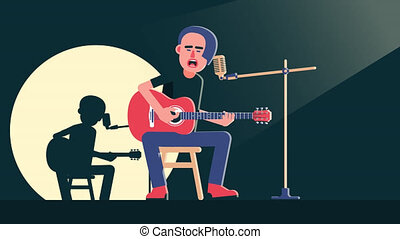 Musician with acoustic guitar sings song on the stage. Rockstar Unplugged performance. 2d looped animation with alpha channel.