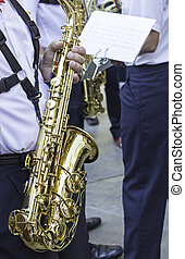 Musician with golden trumpet