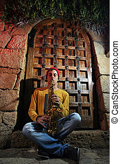 musician with his saxophone