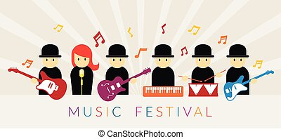 Musician with Instruments - Band, Group, Flat vector Design...