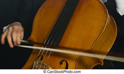 Musician woman plays the cello professionally classic music....