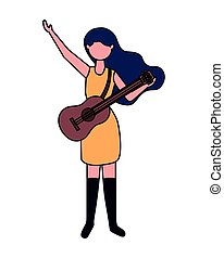 musician woman with guitar professional labor