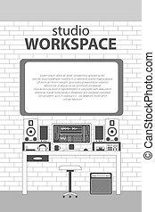 Musician workspace vector thin line illustration.