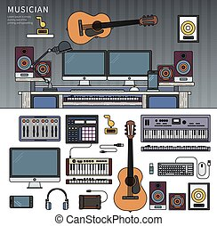 Musician workspace with musical instruments, sound recording studio