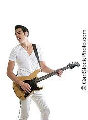 Musician young man playing electric guitar