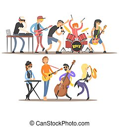 Musicians and Mucical Instruments. Vector Illustration