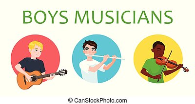 Musicians boys is inspired to play different musical...
