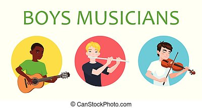 Musicians boys of different nations is inspired to play...