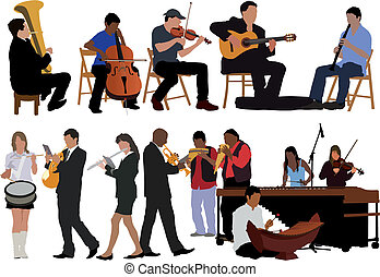 Over ten vector color illustrations of performing musicians.