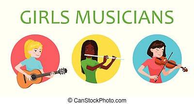 Musicians girls is inspired to play different musical...