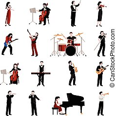 Musicians Icons Set - Musicians flat icons set with pianist...