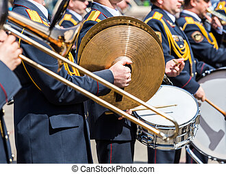 musicians of the military brass band at parade