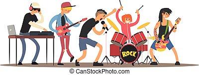 Musicians on a Concert. Vector Illustration