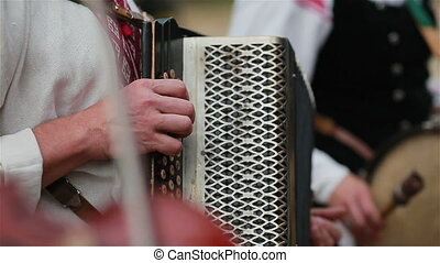 Musicians play accordion drums violin - Street musicians...