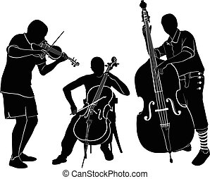 musicians play on the violin and ce