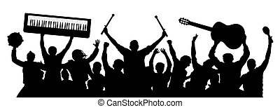 Musicians silhouette. Crowd of people with musical instruments