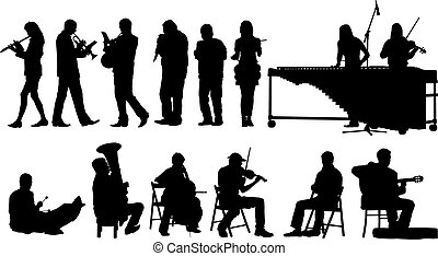 Over ten vector silhouettes of performing musicians.